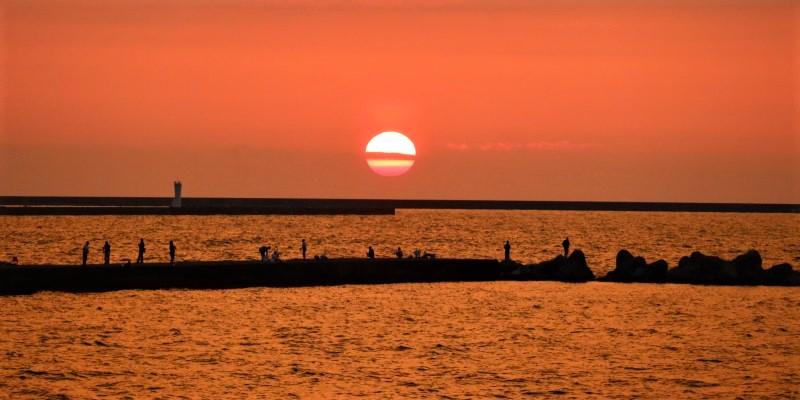 2021みちのく夏紀行 新潟の海の夕陽